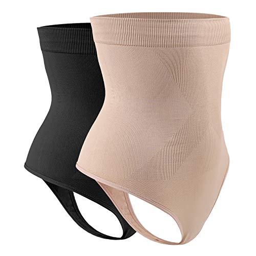 DREAM SLIM Women's High-Waist Seamless Body Shaper Briefs Firm Control Tummy Slimming Thong Shapewear Panties Girdle Underwear (Nude/Black 2 Pack, XL/XXL)