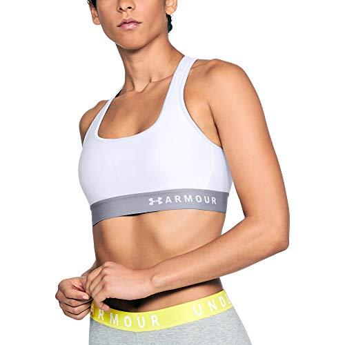 Under Armour womens HeatGear Armour Mid Impact Crossback Sports Bra , White (100)/White , Medium