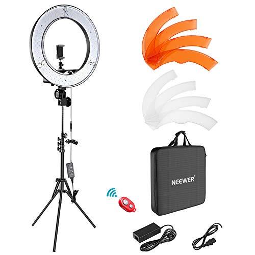 Neewer Ring Light Kit:18'/48cm Outer 55W 5500K Dimmable LED Ring Light, Light Stand, Carrying Bag for Camera,Smartphone,YouTube,TikTok,Self-Portrait Shooting, Black, Model:10088612