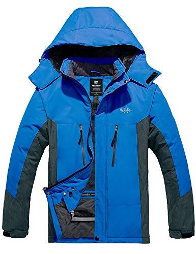 Wantdo Men's Mountain Ski Jacket Rain Resistant Traveling Winter Coats Light Blue M
