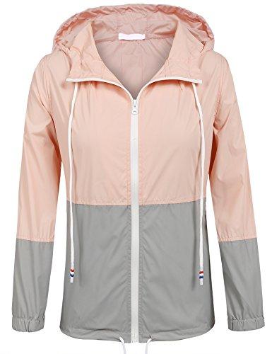 Soteer Womens Lightweight Rain Jacket Hooded Raincoat Active Outdoor Waterproof Windbreaker (Pink/Gray S)