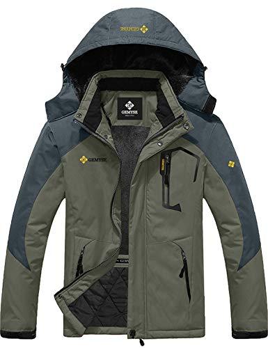 GEMYSE Men's Mountain Waterproof Ski Snow Jacket Winter Windproof Rain Jacket (Army Green,M)