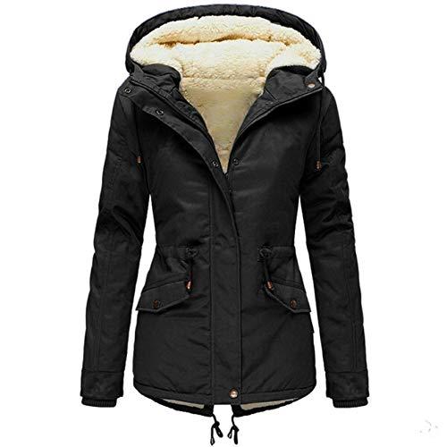 90sMuse Women Down Coat Winter Warm Sherpa Fleece Lined Hooded Cotton Padded Jacket Thermal Zip Up Puffer Jacket Outwear (Black, S)