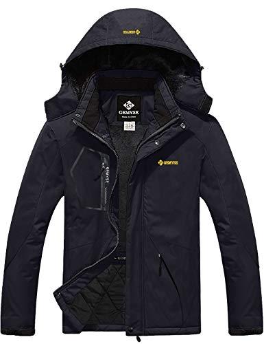 GEMYSE Men's Mountain Waterproof Ski Snow Jacket Winter Windproof Rain Jacket (Black,M)