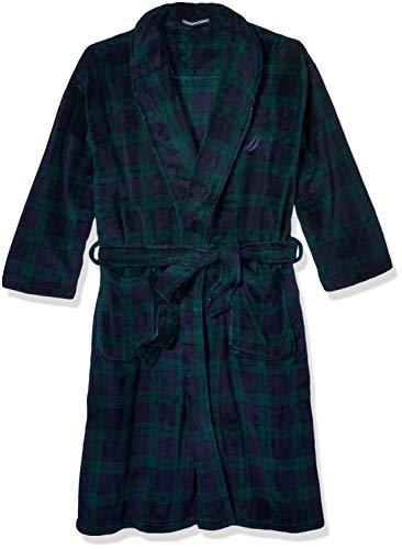 Nautica Men's Long Sleeve Cozy Soft Plush Shawl Collar Robe, Maritime Navy, One Size