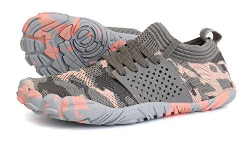 JOOMRA Women Barefoot Shoes Minimal Wide Cross Trainer for Ladies Runner Athletic Hiking Trekking Toes Sneakers Workout Footwear Grey Pink Size 8