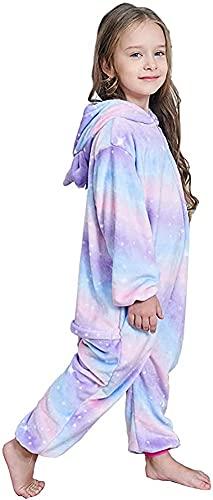 kids Unicorn Onesie Animal One Piece Pajamas Halloween Costumes (Bright Purple, 5T)