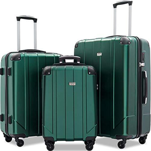 Merax Luggage Sets with TSA Locks, 3 Piece Lightweight P.E.T Luggage 20inch 24inch 28inch (Blackish Green)