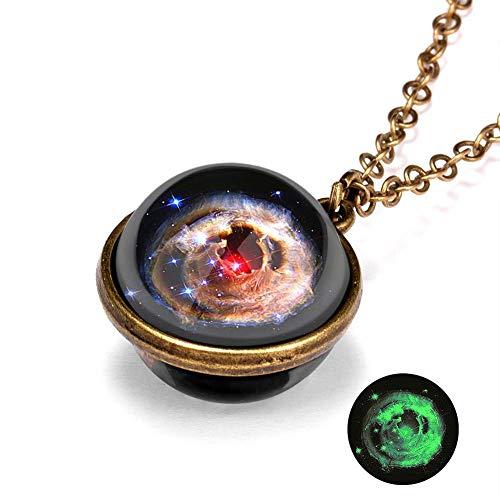 Solar System Necklace Nebula Galaxy Planet Pendant Double Side Glass Crystal Ball Cosmic Pattern Pendant Necklace Handmade Jewelry Set for Men Women Children 50cm Length