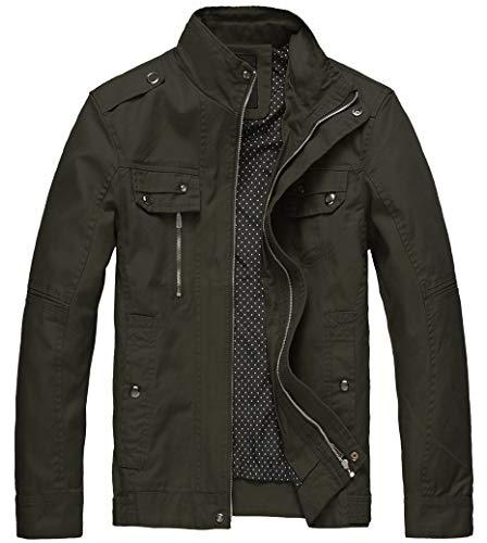 Wantdo Men's Cotton Lightweight Military Style Jacket Army Green,Medium