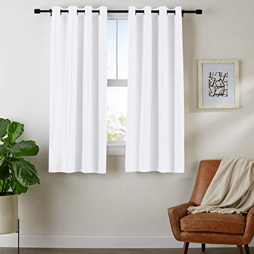 Amazon Basics Room Darkening Blackout Window Curtains with Grommets - 42' x 63', White, 2 Panels