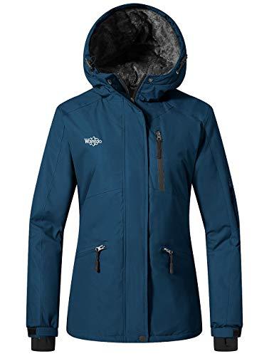 Wantdo Women's Waterproof Ski Jacket Cotton Padded Winter Raincoat Blue Black S