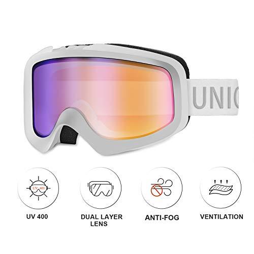 Unigear Skido X1 Ski Goggles, Snowboard Snow Goggles for Men, Women & Youth – Anti-Fog & 100% UV Protection (Revo Blue Lens (VLT 65%))