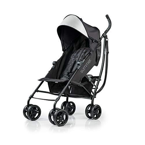Summer 3Dlite Convenience Stroller, Jet Black - Lightweight Stroller with Aluminum Frame, Large Seat Area, 4 Position Recline, Extra Large Storage Basket - Infant Stroller for Travel and More (2019)