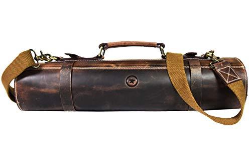 Leather Knife Roll Storage Bag, Elastic and Expandable 10 Pockets, Adjustable/Detachable Shoulder Strap, Travel-Friendly Chef Knife Case (Dark Brown, Leather)