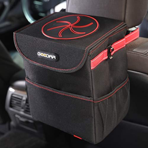 GEEDAR Car Trash Can, Car Trash Bag Hanging with Lid, 3 Storage Pockets,100% Leak-Proof Inside Lining