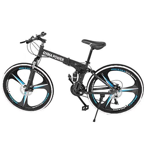 Folding Mountain Bike 26in 21 Speed Bicycle Full Suspension MTB Bikes (Blue)