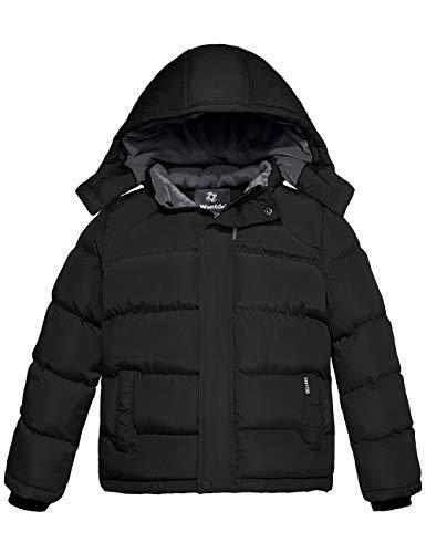 Wantdo Boy's Fleece Warm Winter Jacket Cotton Padded Puffer Jacket Black 14/16