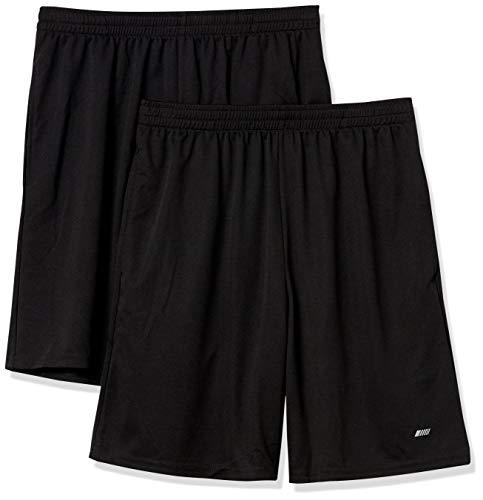 Amazon Essentials Men's 2-Pack Loose-Fit Performance Shorts, Black/Black, Large