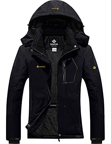 GEMYSE Women's Mountain Waterproof Ski Snow Jacket Winter Windproof Rain Jacket (Black,Medium)