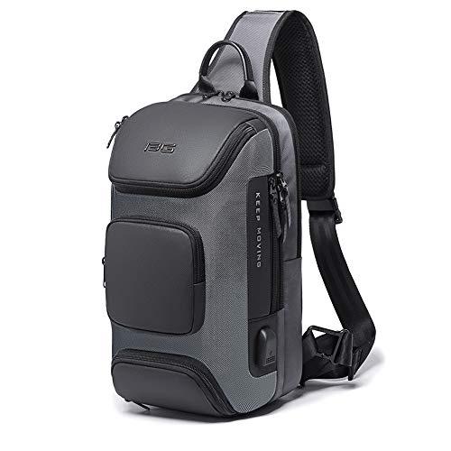 Sling Bag Shoulder Crossbody Bags for Men Women Sling Backpack with USB Charging Port Waterproof Travel Hiking Outdoor Daypacks (Gray-1)