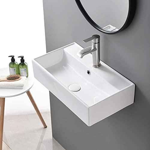 SHACO Contemporary 21' X 12' Porcelain Ceramic Wall Mounted Bathroom Vessel Sink, Rectangular One Hole Bowl Lavatory Vanity Big Bathroom Sink
