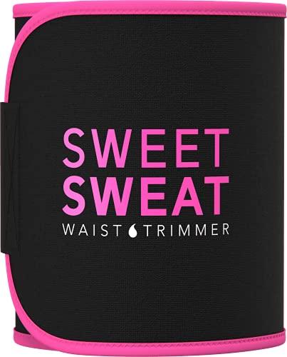 Sweet Sweat Waist Trimmer - Black/Pink (Small) | Premium Waist Trainer Sauna Belt for Men & Women