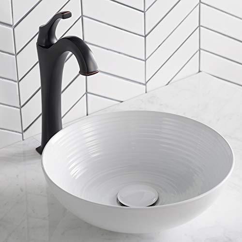 Kraus KCV-204 GWH Ceramic Above Counter Round Bathroom Sink, 13 x 13 x 4.38 Inches, White