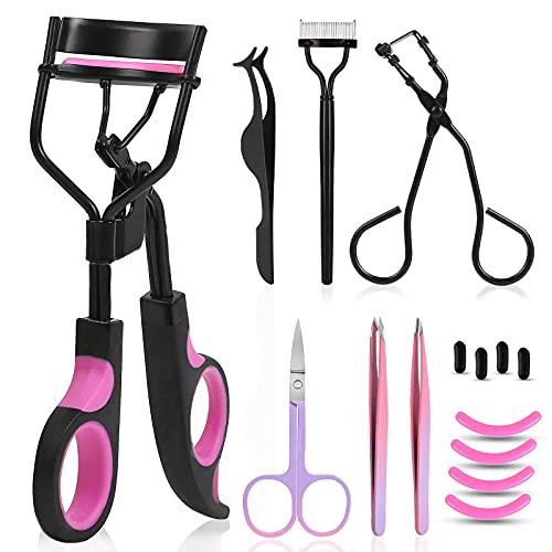 Eyelash Curler, Moduskye 9 IN 1 Eyelash Curler Kit for Women Includes Eye lash Curler, Mini Eyelash Curler, Extension Tweezers, Eyebrow Shear, Comb, Refill Silicone Pads Universal Eye Lashes Curlers