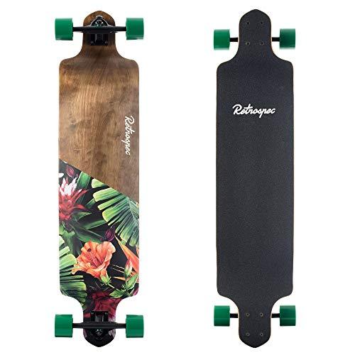 Retrospec Tidal 41-inch Drop-Down Longboard Skateboard Complete 41-Inch; Tropical Flora