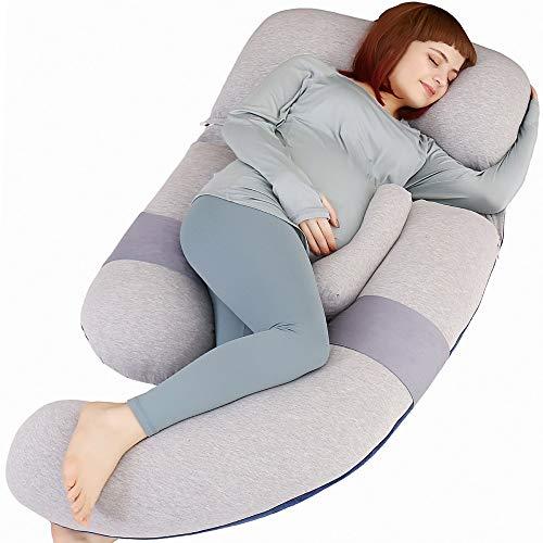 MOON PINE 60 inch Pregnancy Pillow, Detachable U Shape Full Body Pillow for Maternity Support, Sleeping Pillow for Pregnant Women (Grey&Blue-Velvet&Jersey)