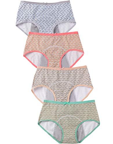 Hellove Womens 4 Packs Menstrual Period Protective Panties Leakproof Briefs (Medium, 4 Pack)