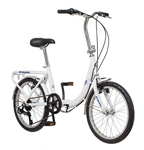 Schwinn Loop Adult Folding Bike, 20-inch Wheels, 7-Speed Drivetrain, Rear Carry Rack, Carrying Bag, White