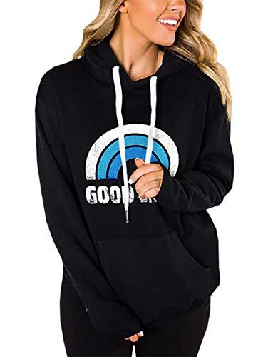 LACOZY Women's Loose Long Sleeve Rainbow Shirt Pullover Hoodie Oversize Sweaters for Women Black Blue Medium