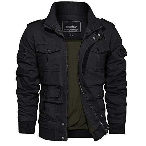 TACVASEN Men's Jackets-Military Cotton Bomber Cargo Casual Coats Outwear (Black XL)