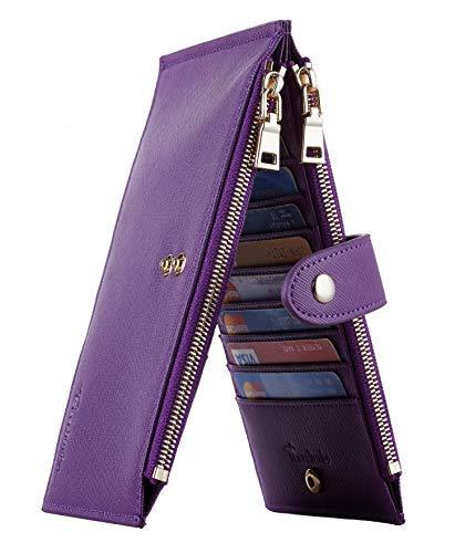 Travelambo Womens Walllet RFID Blocking Bifold Multi Card Case Wallet with Zipper Pocket Crosshatch (Purple Deep)
