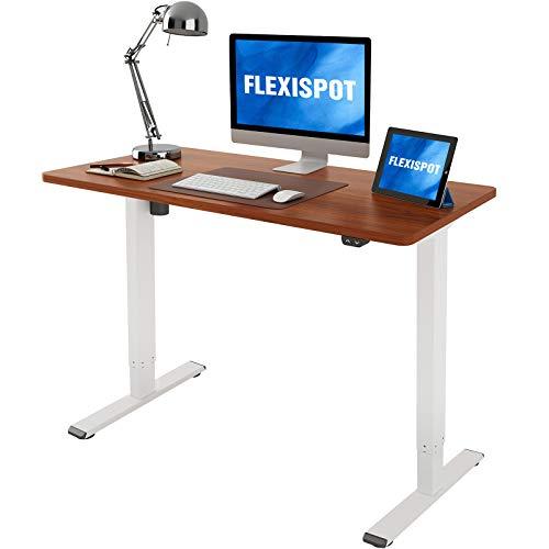 Flexispot EC1 Electric Standing Desk Height Adjustable Desk, Sit Stand Desk Home Office Workstation Stand up Desk Classic (48x24, Mahogany Desktop + White Frame)