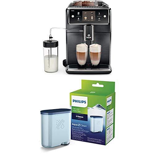 Saeco Xelsis Super Automatic Espresso Machine, Titanium Metal Front, SM7684/04 with Philips Saeco AquaClean Filter Single Unit, CA6903/10