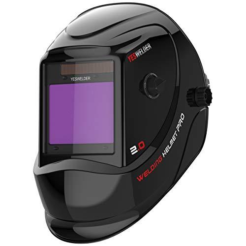 YESWELDER Large Viewing Screen 3.94'X3.27' True Color Solar Power Auto Darkening Welding Helmet, 4 Arc Sensor Wide Shade 4~5/9-9/13 for TIG MIG Arc Cut Grinding Welder Mask LYG-M800D