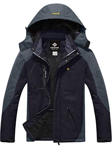 GEMYSE Men's Mountain Waterproof Ski Snow Jacket Winter Windproof Rain Jacket (Black Grey,M)