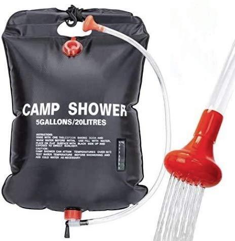 VIGLT Portable Shower Bag for Camping 5 gallons/20L Solar Shower Bag for Outdoor Traveling Hiking Summer Shower
