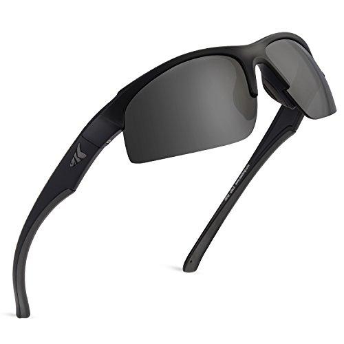 KastKing Cuivre Polarized Sport Sunglasses for Men and Women, Matte Blackout Frame,Smoke Lens