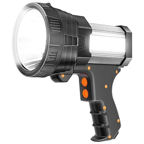 Super Bright Spotlight 6000 Lumen LED Flashlight Handheld Rechargeable Spot light 9600mAh Long Lasting Large Torchlight Searchlight and Floodlight Fishing Hiking Camping Flashlight USB Output (Silver)