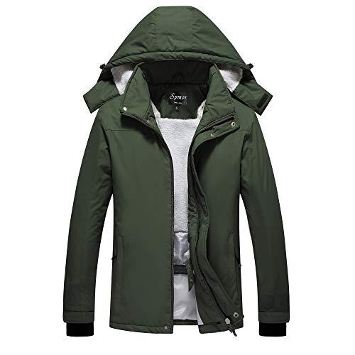 Spmor Women's Waterproof Ski Jacket Mountain Rain Winter Coat Windproof Skin Hooded Jacket Green Small