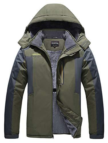 HOW'ON Men's Snow Jacket Windproof Waterproof Ski Jackets Winter Hooded Mountain Fleece Outwear Army Green L