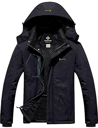 GEMYSE Men's Mountain Waterproof Ski Snow Jacket Winter Windproof Rain Jacket (Black,Medium)