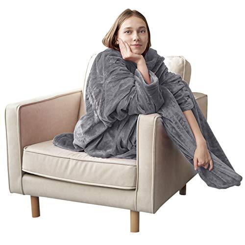 Eheyciga TV Blanket with Sleeves and Pocket, Soft Fleece Wearable Blanket for Adult with Feet, 170x200cm, Grey