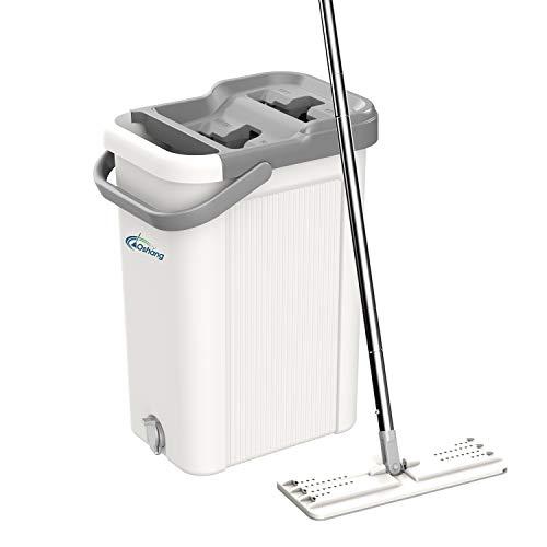 oshang Flat Floor Mop and Bucket Set for Home Floor Cleaning, Hands Free Floor Flat Mop, Stainless-Steel Handle, 2 Washable & Reusable Microfiber Pads