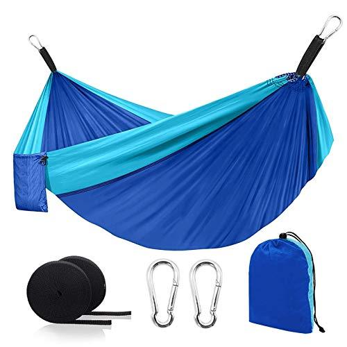 Camping Hammock, Heavy Duty Double & Single Travel Hammocks, Outdoor Portable Backpacking Hammock with 2 Tree Straps,Lightweight Nylon Parachute Hammocks for Hiking, Backyard, Patio