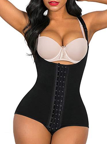 SHAPERX Shapewear for Women Tummy Control fajas colombianas Butt Lifter Body Shaper front hooks,SZ7202-Black-L